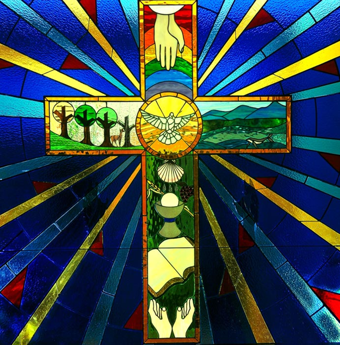 Stained glass window at St. Mark's Lutheran Church in downtown Asheville
